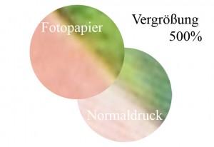 vergroesserung unterschied zwisschen fotopapier und normaldruck
