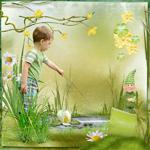 фотомонтаж на тему весны с детской фотографией