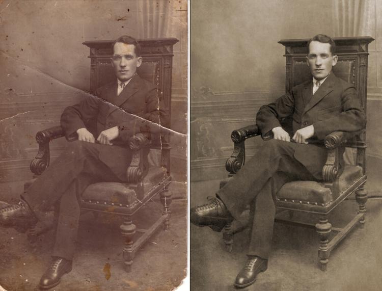 обработка поврежденных и старых фотографий